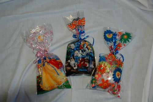fancy decorated and themed cellophane party bags